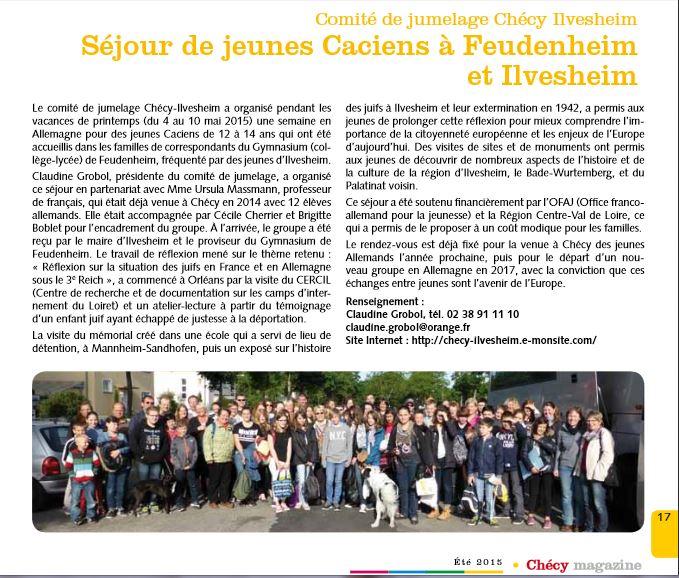 Article bm juin 2013 sejour jeunes feudenheim